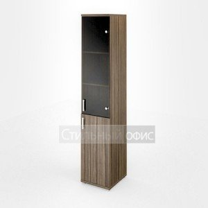 Шкаф узкий высокий со стеклянной дверкой