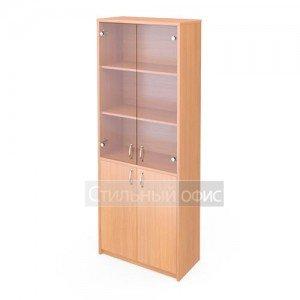 Шкаф широкий со стеклянными прозрачными дверками