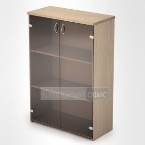 Шкаф в офис средний со стеклом 2Ш.017 + 2ФКс.010 Алсав