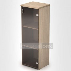 Шкаф в офис узкий средний со стеклом 2П.015 2Фс.011 Алсав