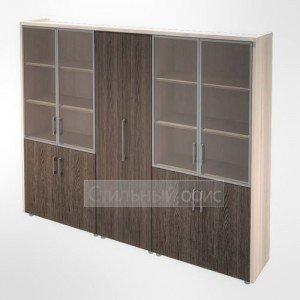 Шкаф витрина и для одежды в кабинет руководителя Композиция 9 светлый Сенатор