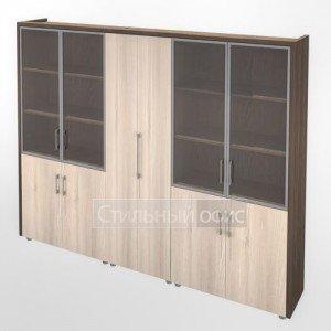 Шкаф витрина и для одежды в кабинет руководителя Композиция 9 темный Сенатор