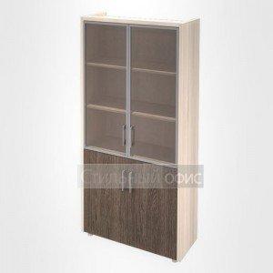 Шкаф витрина с накладками кабинет руководителя Композиция 3 светлый Сенатор