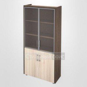 Шкаф витрина с накладками кабинет руководителя Композиция 3 темный Сенатор