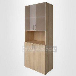 Шкаф высокий широкий с низкими дверками и стеклом