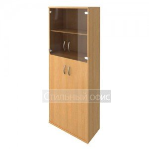 Шкаф высокий закрытый со стеклянными дверками