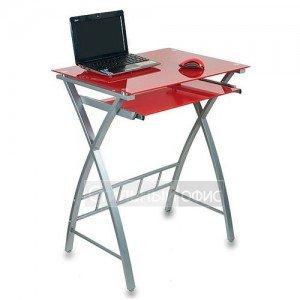 Стеклянный компьютерный стол на металлокаркасе красный GD-003