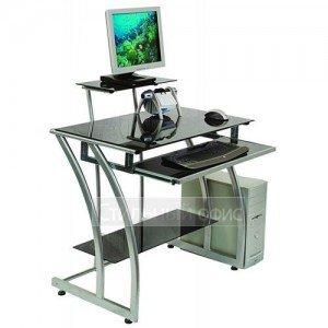 Стеклянный компьютерный стол с надставкой и полкой GD-010