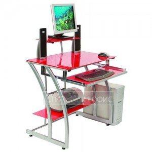 Стеклянный компьютерный стол с надставкой красный GD-010