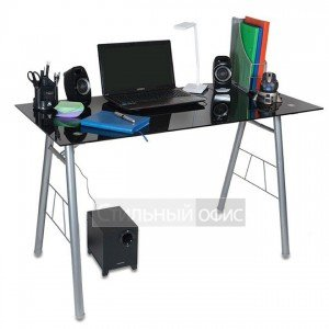 Стеклянный компьютерный стол на металлических опорах GD-012