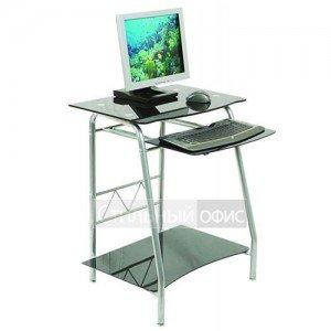 Стол компьютерный стеклянный черный на металлокаркасе GD-005