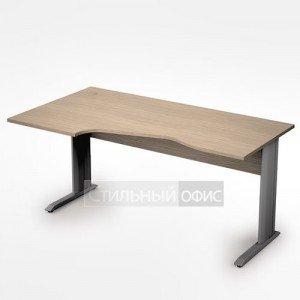 Стол на металлических опорах эргономичный левый длинный