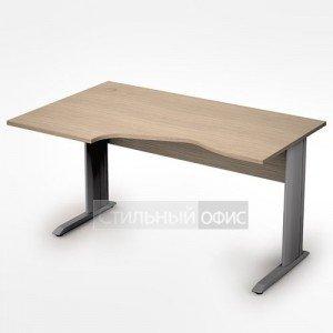 Стол на металлических опорах эргономичный левый