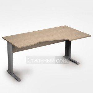 Стол на металлических опорах эргономичный правый длинный