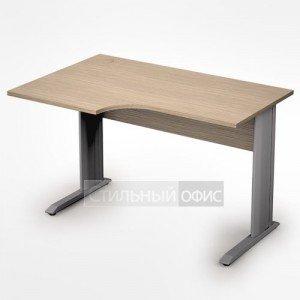 Стол на металлических опорах криволинейный левый короткий