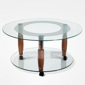 Журнальный столик круглый на колесиках в офис