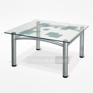 Стол журнальный квадратный с прозрачным стеклом