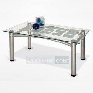 Стол журнальный прямоугольный с прозрачным стеклом