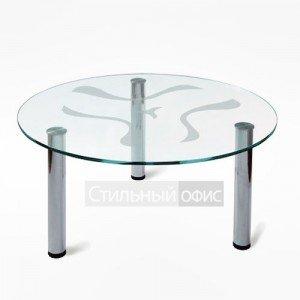 Стол журнальный стеклянный круглый в офис
