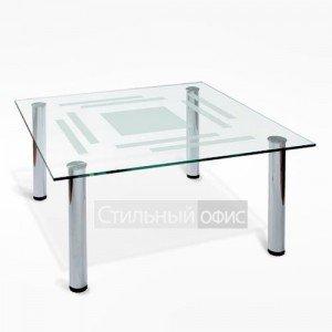 Стол журнальный офисный стеклянный квадратный