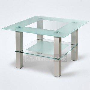 Столик журнальный квадратный стеклянный