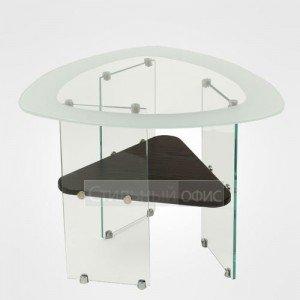 Столик журнальный стеклянный с деревянной полкой