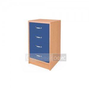 Тумба приставная широкая с синими ящиками