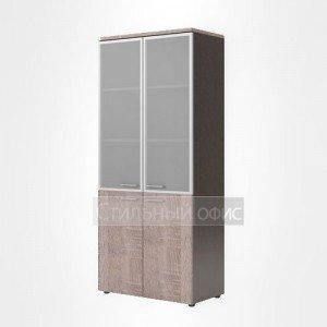 Шкаф высокий со стеклом закрытый офисный для сотрудников